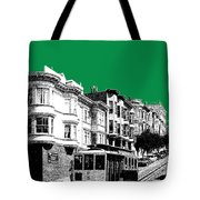 San Francisco Skyline Cable Car 2 - Forest Green Tote Bag