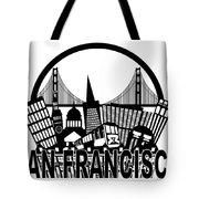 San Francisco Skyline Golden Gate Bridge Black And White Illustr Tote Bag
