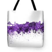 San Francisco Skyline In Purple Watercolor On White Background Tote Bag