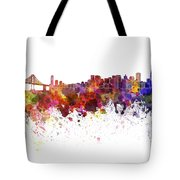 San Francisco Skyline In Watercolor On White Background Tote Bag