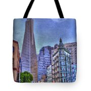 San Francisco Transamerica Pyramid And Columbus Tower View From North Beach Tote Bag