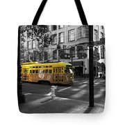 San Francisco Vintage Streetcar On Market Street - 5d19798 - Black And White And Yellow Tote Bag