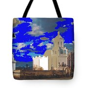 San Xavier Mission Brooding Clouds Post Card Ray Manley  Photo No Date-2013  Tote Bag