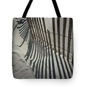 Sand Fence During Winter On The Beach Tote Bag