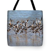 Sand Pipers Arrive At The Grp Tote Bag
