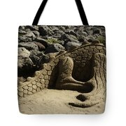 Sand Sculpture Dragon With Flaming Nostrils Tote Bag