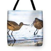 Sanderlings Playing At The Beach Tote Bag