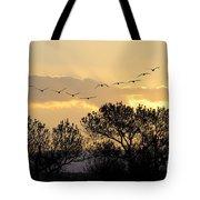 Sandhill Cranes Flying At Sunset Tote Bag