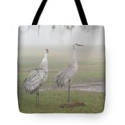 Sandhill Cranes In A Foggy Morning Tote Bag