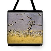 Sandhill Cranes On The Ground Tote Bag