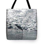 Sandpiper Finds Food In Surf Tote Bag