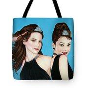 Sandra Bullock And Audrey Hepburn Tote Bag