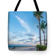 Sandy Beach And Beautiful Clouds  Tote Bag