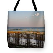 Sandy Beach And Three Tiny Clouds Tote Bag