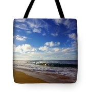 Sandy Beach Morning Rainbow Tote Bag