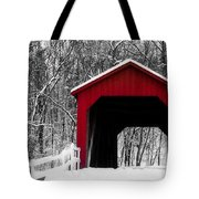 Sandy Creek Cover Bridge With A Touch Of Red Tote Bag