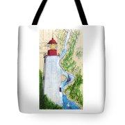 Sandy Hook Lighthouse Nj Chart Map Art Peek Tote Bag