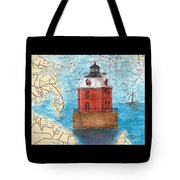 Sandy Pt Shoals Lighthouse Md Nautical Chart Map Art Cathy Peek Tote Bag