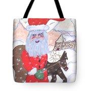 Santa And His Reindeer Tote Bag