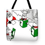 Santa And Reindeer Conference Tote Bag