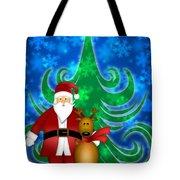 Santa And Reindeer In Winter Snow Scene Tote Bag