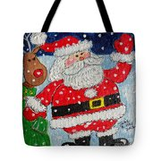 Santa And Rudolph Tote Bag