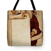 Santa Claus Wishlist Original Coffee Painting Tote Bag by Georgeta  Blanaru