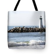 Santa Cruz Lighthouse Wave Wide Tote Bag by Barbara Snyder