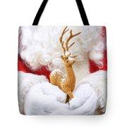 Santa Holding Reindeer Figure Tote Bag