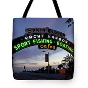 Santa Monica Pier At Dusk Tote Bag