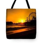 Santa Monica Pier California Sunset Photo Tote Bag by Paul Velgos