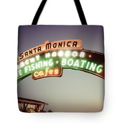Santa Monica Pier Sign Retro Photo Tote Bag