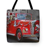 Santa On Fire Truck Tote Bag