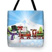 Santa On Train With Snow Scene Tote Bag