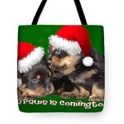 Santa Paws Is Coming To Town Christmas Greeting Tote Bag