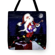 Santa Plays Guitar In A Snowstorm 2 Tote Bag