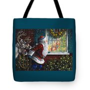 Santa's At The Window Tote Bag