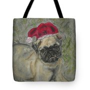 Santa's Little Pugster Tote Bag