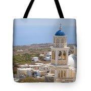 Santorini Church Overlooking The Sea Tote Bag
