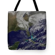 Satellite View Of A Noreaster Storm Tote Bag