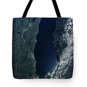 Satellite View Of Lake Michigan Tote Bag