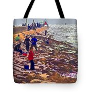 Saturday Morning On The Surfside Jetty Tote Bag