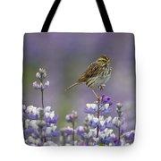 Savannah Sparrow And Nootka Lupine Tote Bag