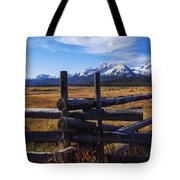Sawtooth Mountains And Wooden Fence Tote Bag