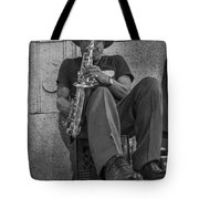 Sax Player In Chicago  Tote Bag