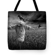 Scarecrow And Black Crows Over A Cornfield Tote Bag
