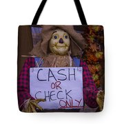 Scarecrow Holding Sign Tote Bag