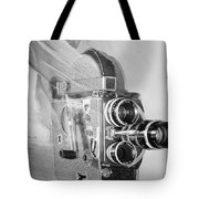 Scarf Camera In Black And White Tote Bag