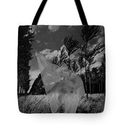 Scarf In The Winds In Black And White Tote Bag