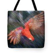 Scarlet Macaw Flying Amazon Basin Peru Tote Bag